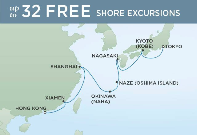 Regent Cruises | 15-Nights from Hong Kong to Tokyo Cruise Iinerary Map