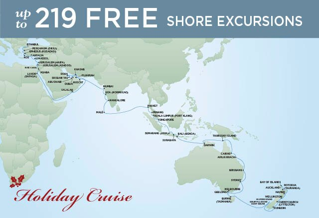 Regent Cruises | 73-Nights from Istanbul to Auckland Cruise Iinerary Map