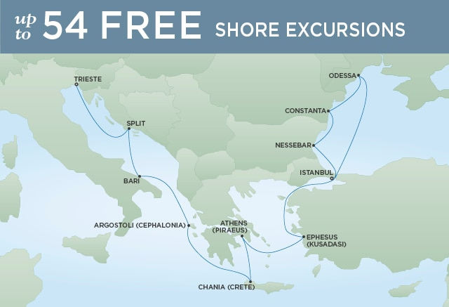 Regent Cruises | 12-Nights from Venice to Istanbul Cruise Iinerary Map