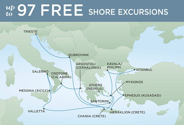 Regent Cruises | 19-Nights from Athens to Venice Cruise Iinerary Map