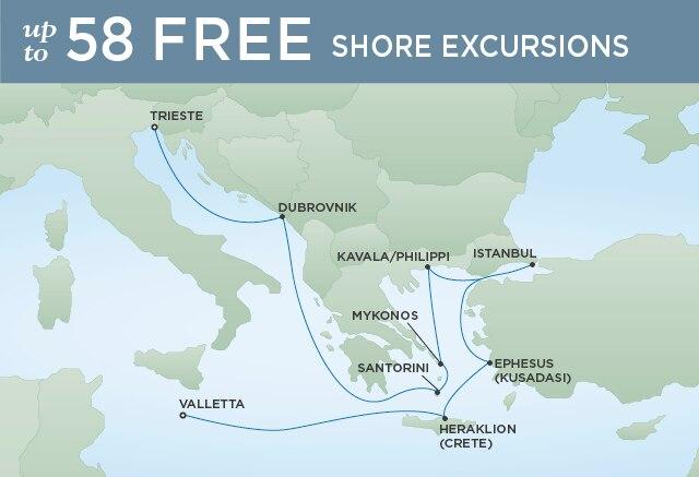 Regent Cruises | 12-Nights from Valletta to Venice Cruise Iinerary Map