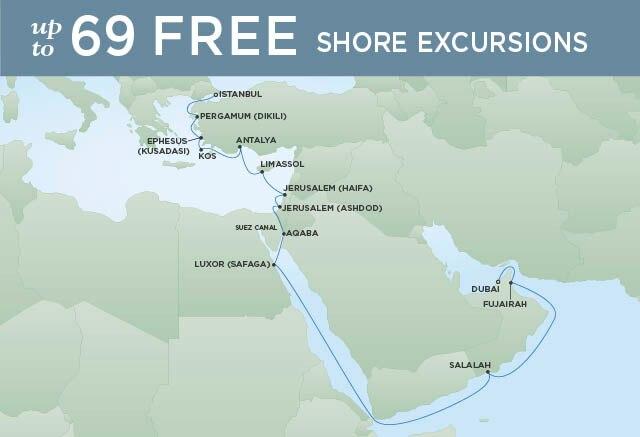 Regent Cruises | 21-Nights from Istanbul to Dubai Cruise Iinerary Map