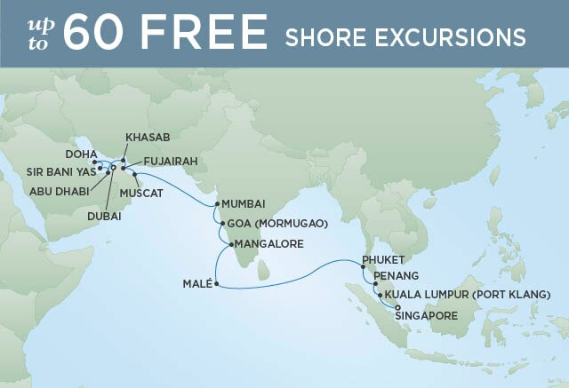 Regent Cruises | 21-Nights from Dubai to Singapore Cruise Iinerary Map