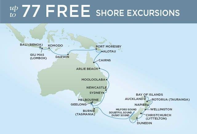 Regent Cruises | 32-Nights from Auckland to Bali Cruise Iinerary Map