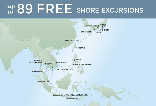 Regent Cruises | 29-Nights from Bali to Tokyo Cruise Iinerary Map