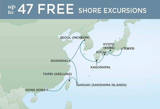 Regent Cruises | 14-Nights from Hong Kong to Tokyo Cruise Iinerary Map