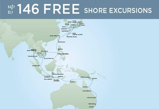 Regent Cruises | 61-Nights from Sydney to Tokyo Cruise Iinerary Map