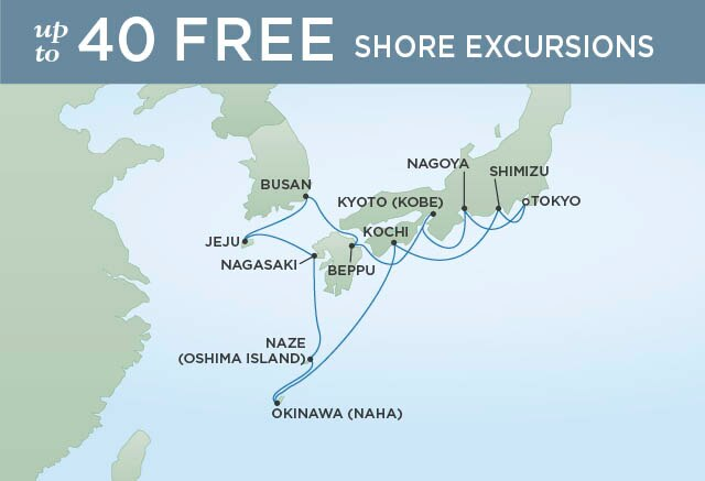 Regent Cruises | 14-Nights Roundtrip from Tokyo Cruise Iinerary Map