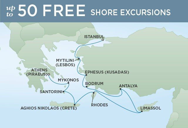 Regent Cruises | 10-Nights from Istanbul to Athens Cruise Iinerary Map