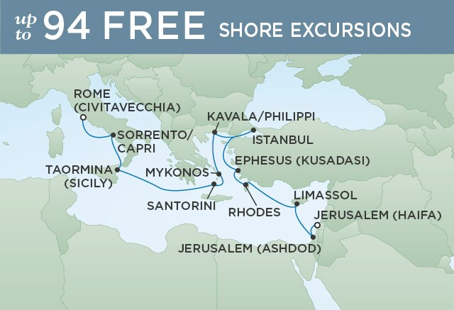 Regent Cruises | 14-Nights from Jerusalem to Venice Cruise Iinerary Map