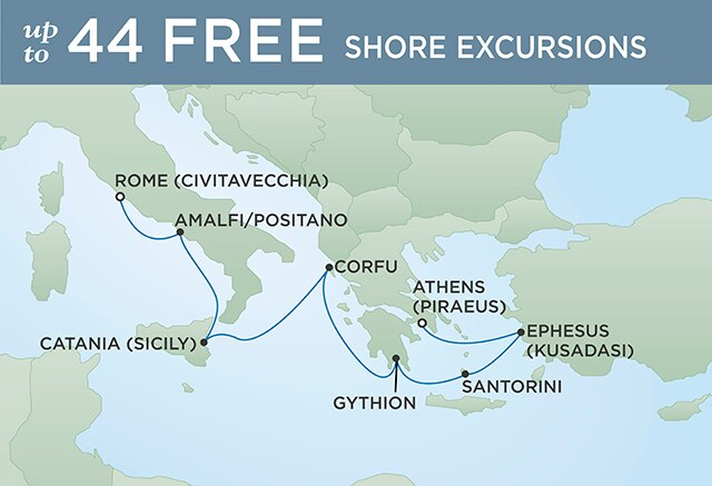 Regent Cruises | 7-Nights from Venice to Athens Cruise Iinerary Map