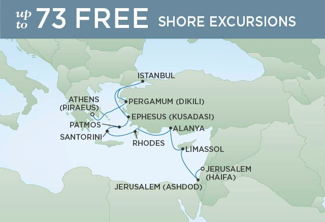 Regent Cruises | 12-Nights from Athens to Jerusalem Cruise Iinerary Map