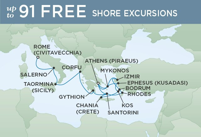 Regent Cruises | 17-Nights from Athens to Rome Cruise Iinerary Map