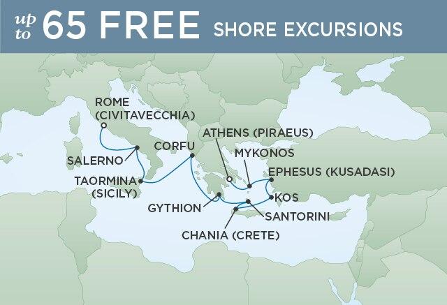 Regent Cruises | 10-Nights from Venice to Rome Cruise Iinerary Map