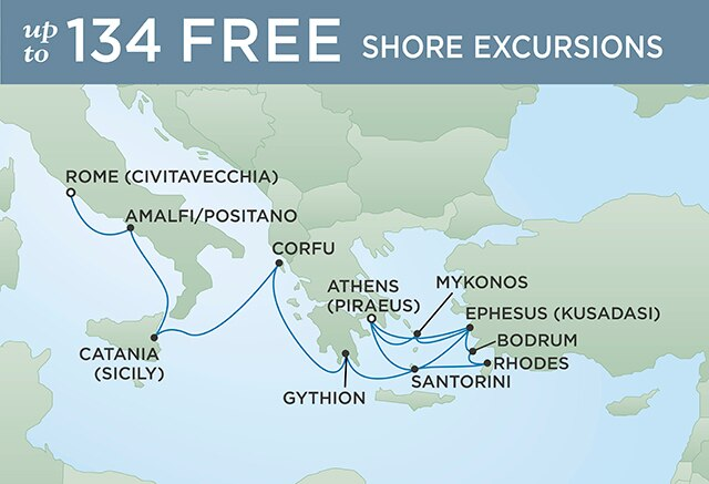 Regent Cruises | 14-Nights Roundtrip from Venice Cruise Iinerary Map
