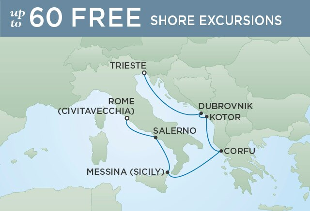 Regent Cruises | 7-Nights from Rome to Venice Cruise Iinerary Map
