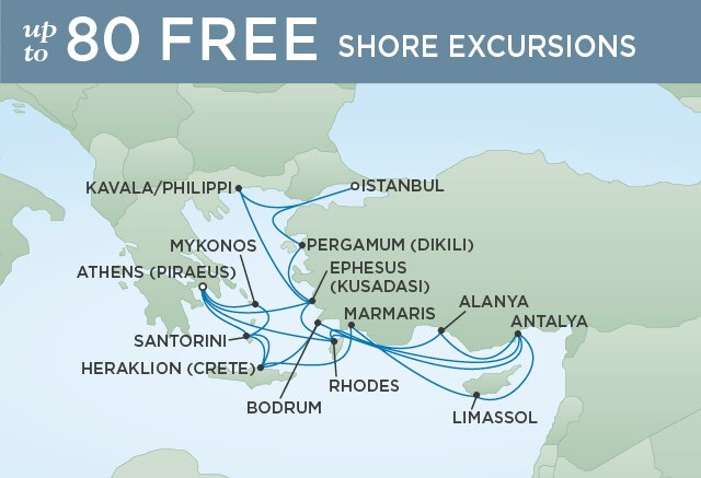 Regent Cruises | 22-Nights from Athens to Venice Cruise Iinerary Map