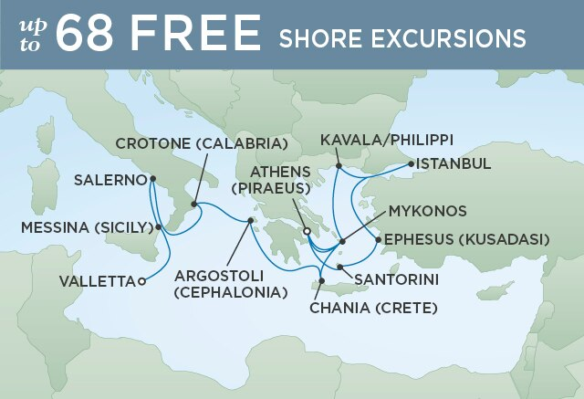 Regent Cruises | 14-Nights from Venice to Valletta Cruise Iinerary Map