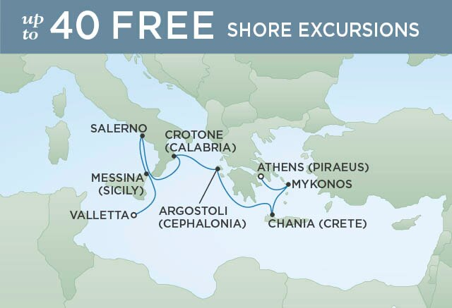 Regent Cruises | 7-Nights from Athens to Valletta Cruise Iinerary Map