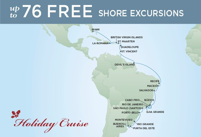 Regent Cruises | 28-Nights from Buenos Aires to Miami Cruise Iinerary Map