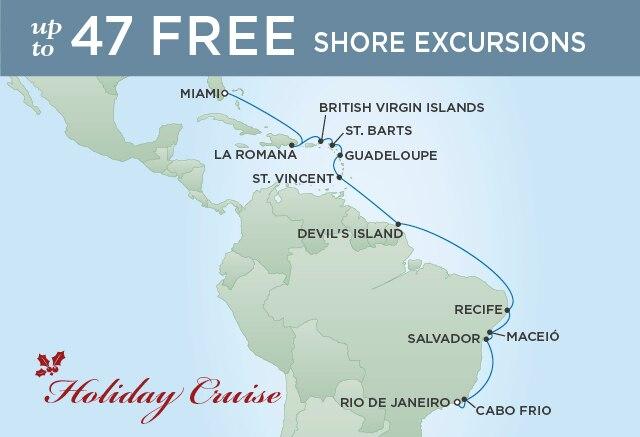 Regent Cruises | 18-Nights from Rio de Janeiro to Miami Cruise Iinerary Map