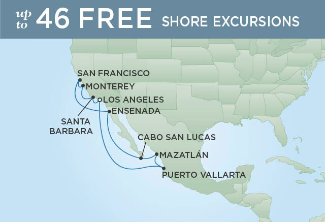 Regent Cruises | 12-Nights Roundtrip from Los Angeles Cruise Iinerary Map