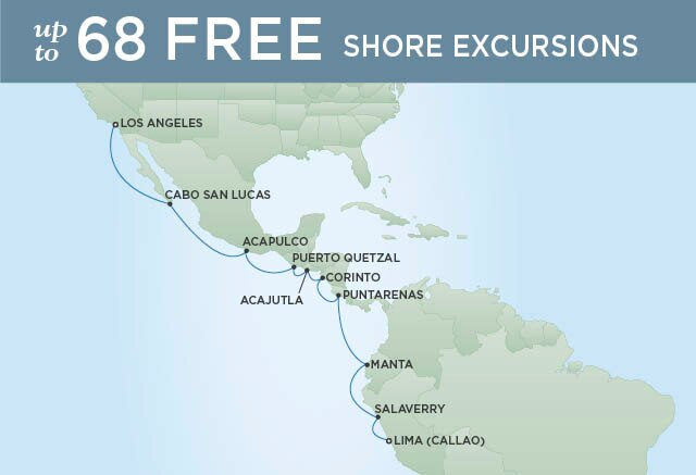 Regent Cruises | 16-Nights from Los Angeles to Lima Cruise Iinerary Map