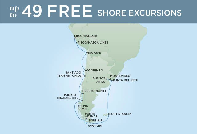 Regent Cruises | 21-Nights from Lima to Buenos Aires Cruise Iinerary Map