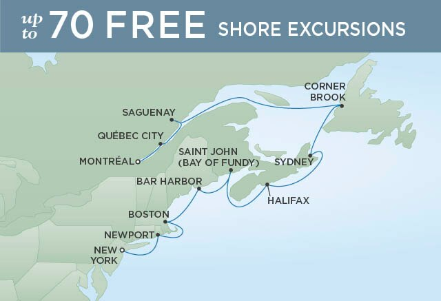 Regent Cruises | 11-Nights from Montreal to New York Cruise Iinerary Map