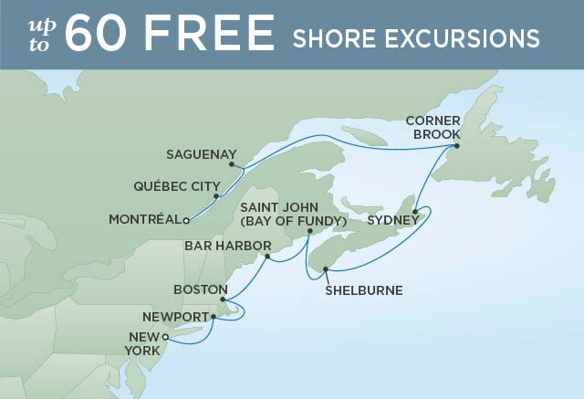 Regent Cruises | 11-Nights from New York to Montreal Cruise Iinerary Map