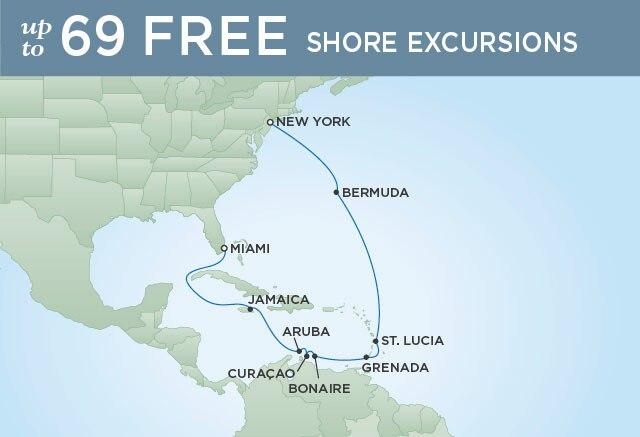 Regent Cruises | 14-Nights from New York to Miami Cruise Iinerary Map