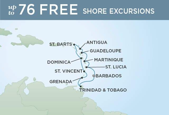 Regent Cruises | 10-Nights Roundtrip from Bridgetown Cruise Iinerary Map