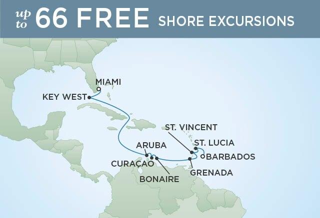 Regent Cruises   11-Nights from Miami to Bridgetown Cruise Iinerary Map