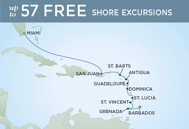 Regent Cruises | 11-Nights from Bridgetown to Miami Cruise Iinerary Map