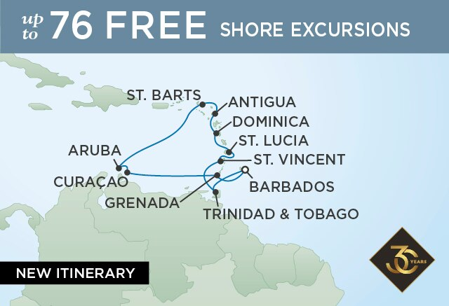Regent Cruises | 12-Nights Roundtrip from Bridgetown Cruise Iinerary Map