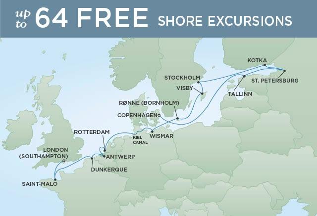 Regent Cruises | 16-Nights from London to Copenhagen Cruise Iinerary Map