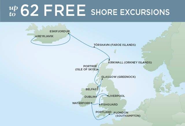 Regent Cruises | 14-Nights from Reykjavik to London Cruise Iinerary Map