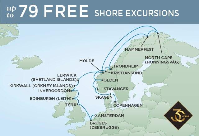Regent Cruises | 20-Nights from Copenhagen to Amsterdam Cruise Iinerary Map
