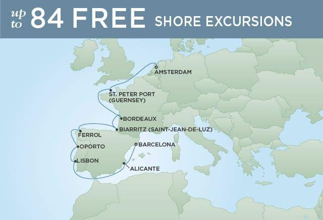 Regent Cruises   12-Nights from Amsterdam to Barcelona Cruise Iinerary Map