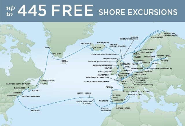 Regent Cruises | 94-Nights Roundtrip from New York Cruise Iinerary Map