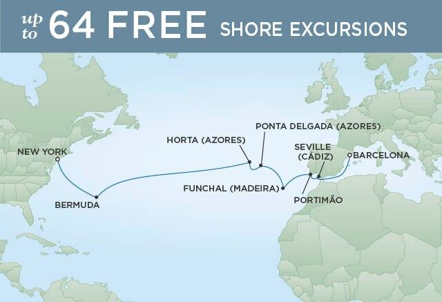 Regent Cruises | 16-Nights from Barcelona to New York Cruise Iinerary Map