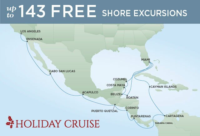 Regent Cruises | 23-Nights from Miami to Los Angeles Cruise Iinerary Map