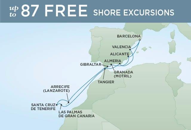 Regent Cruises   12-Nights Roundtrip from Barcelona Cruise Iinerary Map