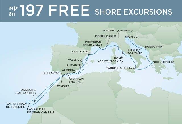 Regent Cruises | 22-Nights from Barcelona to Venice Cruise Iinerary Map