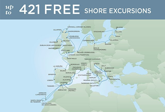 Regent Cruises | 65-Nights from Stockholm to Rome Cruise Iinerary Map