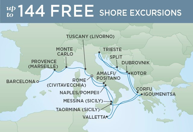 Regent Cruises | 17-Nights from Barcelona to Rome Cruise Iinerary Map