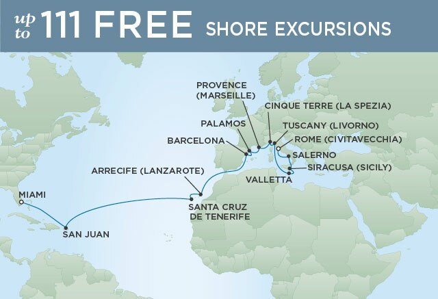 Regent Cruises | 24-Nights from Rome to Miami Cruise Iinerary Map