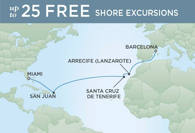 Regent Cruises   14-Nights from Barcelona to Miami Cruise Iinerary Map