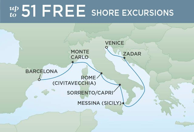 Regent Cruises | 7-Nights from Barcelona to Venice Cruise Iinerary Map