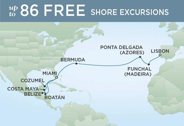 Regent Cruises | 19-Nights from Miami to Lisbon Cruise Iinerary Map